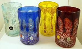 Murano Glass Multi-Color Millefiori Set of Four ... - Amazon.com