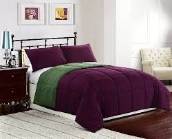 purple olive green bed cover