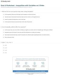 quiz worksheet inequalities variables on sides equations both easy print solving quiz ineq medium