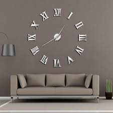 modern diy large wall clock 3d mirror surface sticker home decor art giant wall clock watch with roman numerals big silver clock silver clocks wall from