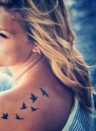 birds tattoo on back. Fine Back Little Upper Back Tattoo Of Six Flying Birds On Birds Tattoo Back