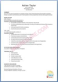 Respiratory Therapist Resume Templates Samples Resume Templates