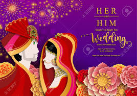 indian wedding invitation card templates with gold patterned and crystals on paper color background stock