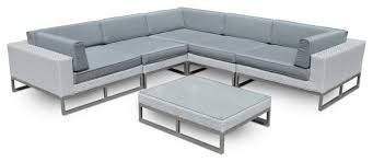 outdoor patio furniture 6 piece all weather wicker sofa sectional set