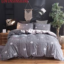 lovinsunshine dark gray duvet cover printed with strips king queen full twin size bedding sets 2pcs 3pcs bed linings sgnz68822
