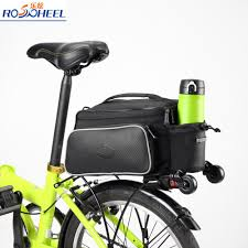 roswheel 14815 a bike bags rear carrier bag rear pack trunk pannier bicycle seat cycling luggage bag 10l leather pouch bicycle saddlebags saddlebags for