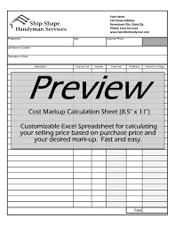 Invoice Price Calculator Free Handyman Invoice Work Order Change Order Mark Up