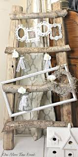 decoration cottage chic decor rustic wood ladder with shabby frames on large picture uk