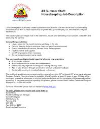 Housekeeping Responsibilities 22 Housekeeper Resume Art Examples