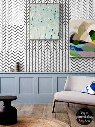 Geometric herringbone pattern removable wallpaper, simple decor,  scandinavian style home design #64