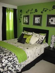 bedroom, Bold Green Bedroom Wall Paint With Enchanting Three Wall Artwork  Frame Plus Black Floral