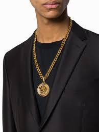 medusa head chain necklace versace