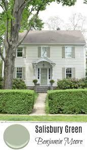 exterior green paint color. exterior door- hawthorne yellow from benjamin moore. salisbury green moore- front door paint color u