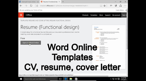 Word Online 1 Templates How To Write Cv Resume Cover Letter