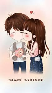 chibi couple cute happy love together brunette black hair
