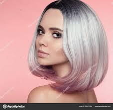 Dívka Portrét Ombre Bob Krátký účes Krásné Vlasy Barvení žena