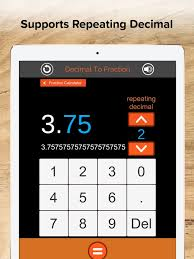 fraction calculator decimals on the app