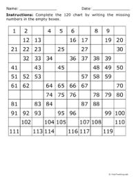 120 Chart 120 Chart Missing Random Numbers Grade 1 Free
