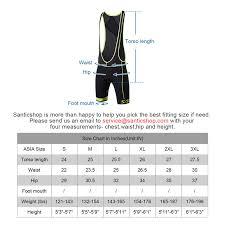 Cycling Jersey Size Chart Santic Forever Men Padded Cycling Bib Shorts
