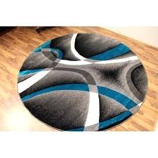 blue round area rugs brown