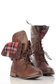 brown faux leather fold over plaid print combat boots cicihot boots catalog women s winter boots leather