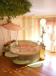 Adorable Nursery Designs With Round Baby Cribs