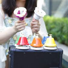 Rhythm band kid's play rb107 hand/desk bell case. Early Musical Teaching Chromatic Bell Hand Bells Desk Bells Colorful 8 Notes Music Hand Bell Set Percussion Instrument Musical Instruments Dj Concert Mallet Percussion Cate Org