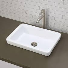 decolav classically redefined semi recessed rectangular bathroom sink in white