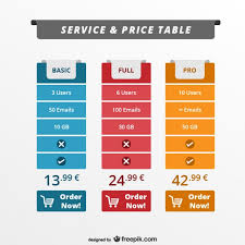 Pricing Template For Services Service And Price Table Web Template Vector Free Download