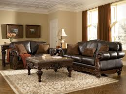 Leather Living Room Sets For North Shore All Leather Brown Traditional Sofa Set Old World