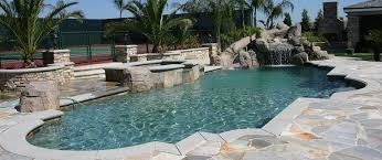 inground pools with waterfalls and slides. Concrete Coping, Free Formed Shape Inground Gunite Pool Built In Los Angeles Pools With Waterfalls And Slides W