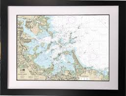 Nautical Chart Holder Framed Boston Harbor Nautical Chart