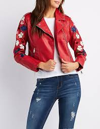 designers embroidered faux leather moto jacket red for women