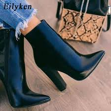 Eilyken <b>2021 New</b> Winter Women Ankle Boots Fashion Pointed Toe ...
