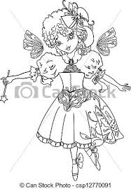 fairy cartoon outline drawing csp12770091