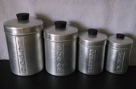 metal kitchen canisters sofa vintage canister set cat tail tins red orange black sears cattail 35
