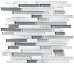 sample bliss iceland marble and glass linear mosaic tiles for kitchen backsplash or bathroom walls