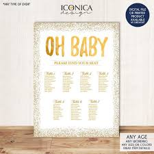 Baby Shower Seating Chart Board Oh Baby Gold Seating Chart Gold Guest List Chart Any Color Gold Confeti Template Or Printed Scw0013