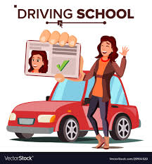 Woman in driving school training car Royalty Free Vector