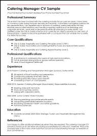 Catering Manager Cv Sample For Catering Manager Resume Example Mesmerizing Catering Resume
