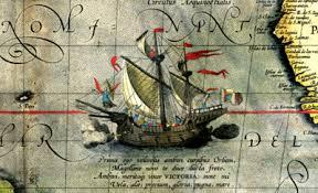 Первое кругосветное плавание Википедия detail from a map of ortelius magellan s ship victoria png