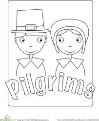 Small Picture Pilgrim Worksheet Educationcom