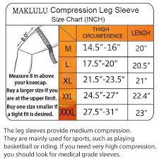 Sleeve Chart Maklulu Compression Leg Sleeves 1 Pair For Men Women Full Length Stretch Long Sleeve Non Slip Inner Bands