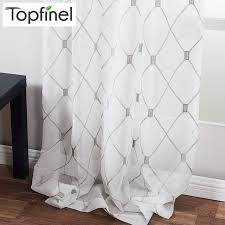 topfinel geometric pattern design embroidered white sheer curtains voile tulle window curtains for kitchen living room