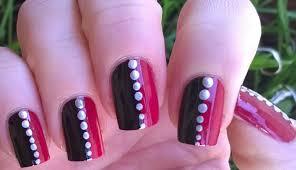 Easy nail art designs! #1 - DIY: Pretty black & pink & silver ...