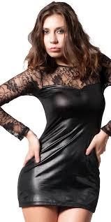 black leather lace mini dress y women s clubwear