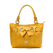 Coach Embossed Bowknot Signature Medium Yellow Totes DDS