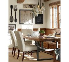 pottery barn dining room lighting. griffin wrought iron \u0026 reclaimed wood rectangular fixed dining table | pottery barn table, and room lighting y
