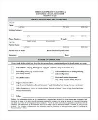 Customer Complaint Form Template Free Medical Board Example ...