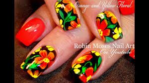 Bright Flower Nail Art Design Tutorial Diy Hot Summer Nails Orange Flower Nail Art Design Tutorial